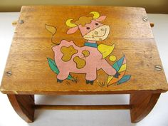 *SOLD*  Vintage Child's Stool Vintage Children's by HipCatRetroVintage, https://www.etsy.com/listing/187565357/vintage-childs-stool-vintage-childrens?ref=shop_home_active_4