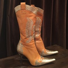 Bronx boots Beautifully detailed leather boots. Metal heels with rhinestone design. Bronx Shoes Heeled Boots