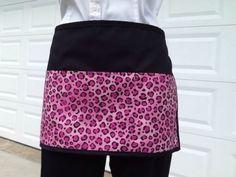 18aa9a8bc6b Black-3-pocket-Pink-Cheetah-waitress-waist-apron-resturants-cafe-USA