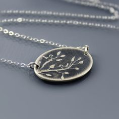 Two Birds on Branch Necklace by Lisa Hopkins Design