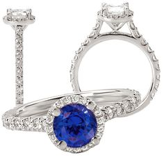 18k created 6.5mm round blue sapphire engagement ring with natural diamond halo