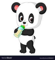 Cute baby panda holding milk bottle vector image on VectorStock Panda Wallpapers, Wallpaper Images Hd, Animal Wallpaper, Panda Bebe, Red Panda, Animals Beautiful, Cute Animals, Picture Mix, Baby Room Themes