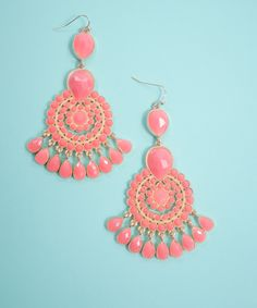 Coral Dreamcatcher Earring, $23 - AMaVo. Big, dreamcatcher style earrings in a pretty shade of coral