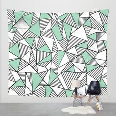 Abstraction Lines with Mint Blocks Wall Tapestry by Project M from Society6. Saved to Tapestry.