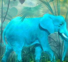 Brassai Gabi: Blue elephant oil on canvas