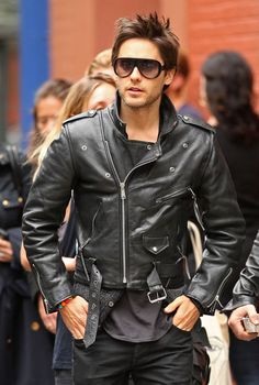JARED LETO Leather Jacket PICTURES PHOTOS and IMAGES