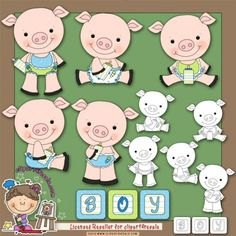 Baby Boy Piggy 1 Clip Art & Digi Stamps by Alice Smith