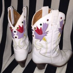 Bright White Vintage Cowgirl Boots This is an insanely GORGEOUS pair of white leather cowgirl boots! They have pink and purple floral accents and are embellished with colorful jewels! In excellent used condition! Vintage Shoes Heeled Boots