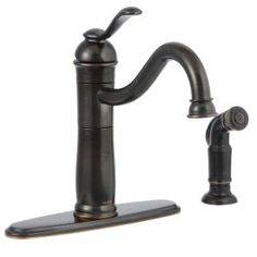 MOEN, Walden Single-Handle Side Sprayer Kitchen Faucet featuring Microban Protection in Mediterranean Bronze, 87427MBRB at The Home Depot - Mobile
