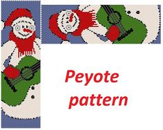 This is a peyote pattern snowman Here is 46 rows and length 6.85 nch Colors 8  The PDF file includes: 1. A bead legend (color and numbers of beads needed) 2. The pattern preview 3. A large, detailed, numbered graph of the pattern. 4. Word chart Pattern in English in the form of PDF file and file includes also suggestions for material.  You find your PDF file in the Your Purchases section on Etsy after payment.  No exchange cause it is impossible.  The instruction is for personal use only…