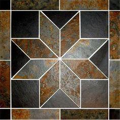Slate Tile Mosaic Medallion Tile Art, Mosaic Tiles, Tiling, Floor Texture, Tiles Texture, Floor Patterns, Tile Patterns, Geometric Shelves, Mosaic Stepping Stones