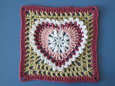 Ravelry: Grandma's Heart Square pattern by Carola Wijma, granny square, heart granny square, crochet, crochet motif