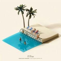 Holiday mood in miniature calendar
