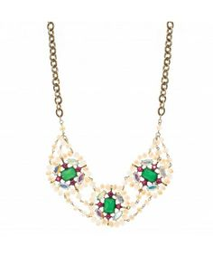 Eye Candy Statement Necklace Simply irresistible necklace with a candy-like feel embellished with emerald, fuschia, aurore boreal and opaque peach colored stones, set on brass plated chain link necklace. Wear it with a T or a top and make sure it is uncovered because this piece will surely make heads turn. Peach Colors, Emerald, Eye Candy, Jewelry Accessories, Stones, Brass, Chain, Link, How To Make