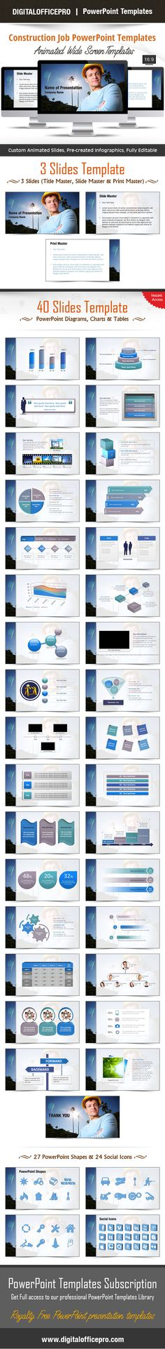 Impress and Engage your audience with Construction Job PowerPoint Template and Construction Job PowerPoint Backgrounds from DigitalOfficePro. Each template comes with a set of PowerPoint Diagrams, Charts & Shapes and are available for instant download.