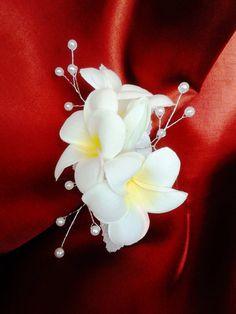 TROPICAL FLOWER HAIR Clip Hawaiian Plumeria Bridal by MalamaPua, $29.99
