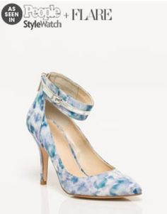 As Seen In People StyleWatch + Flare. Le Chateau: Print Fabric Ankle Cuff Pump, $69.95