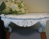 SHELF Cottage WHITE BURWOOD Distressed with Lovely Gold Gilt Specks Ornate Accent Design Romantic Adorable