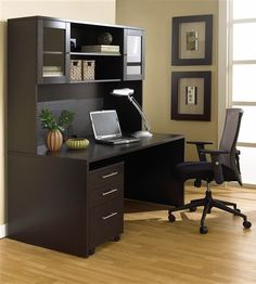 """63"""" Modern Espresso Desk with Included Hutch and Mobile Pedestal"""