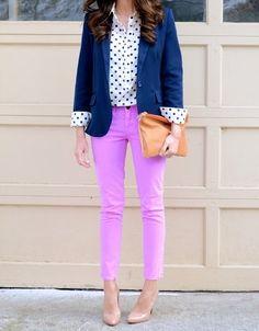 Navy Blazer, Polka Dot Shirt, Purple Pants, and Nude Heels. Perfect outfit!