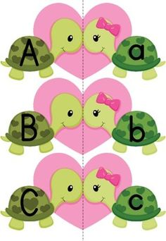 Alphabet Match-Up - Valentine Turtles {FREE} Repinned by  SOS Inc. Resources http://pinterest.com/sostherapy.