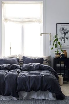Home Interior Warm Ellos Home Pslakanset Candice i tvttat lin, 2 eller 3 delar Home Decor Bedroom, Modern Bedroom, Decor Room, Living Room Decor, Gray Bedroom, Bedroom Ideas, Master Bedroom, Diy Interior, Home Interior Design