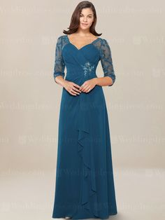 Modest mother of the bride dress is made in Chiffon. It features a V neck with illusion sleeves. Bodice is gathered at waist with beaded embellishment and extends to cascade design. Zipper closure. Available in 60 colors, shown in Teal.