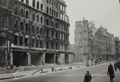 View of Holborn Viaduct showing bomb damage.