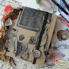 """Artist Art Journal Sketchbook Diary 4x6 Horses by DreamyPapers """"Horse/Equine theme - art"""" recycled art pages from magazines."""