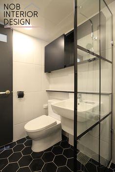 [범박동인테리어]깔끔한 육각타일로 꾸민 작은 화장실 + 부천 범박동 현대힐스테이트 1단지 아파트 34평(소사뜨란채주공) -노브인테리어