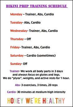 Bikini Prep Training Schedule via Honey We're Healthy