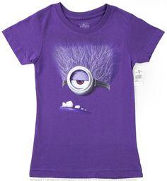 Authentic Despicable Me Purple Evil Minion Girls Glitter T-Shirt Universal NEW