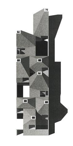 Schützen community housing tilted view is part of architecture Drawing City New York - Architecture Graphics, Concept Architecture, Architecture Drawings, Architecture Design, Architecture Diagrams, Architecture Portfolio, Co Housing, Community Housing, Gravure Illustration