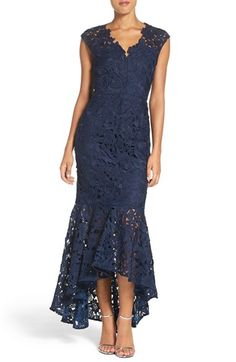 Free shipping and returns on Shoshanna 'Regina' Lace High/Low Gown at Nordstrom.com. Crafted from impeccable floral lace, this dramatic evening gown stuns with a charming illusion yoke, figure-following body, and ruffled high/low hem that festively swings with each step.