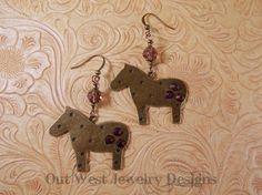 Western Cowgirl Earrings  Fat Brass Ponies with by Outwestjewelry