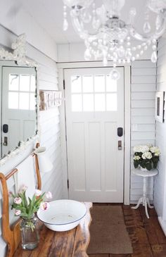 The Entrance's  | B Vintage, back entrance, chandelier, washbasin, white decor, home decor, wood floors,