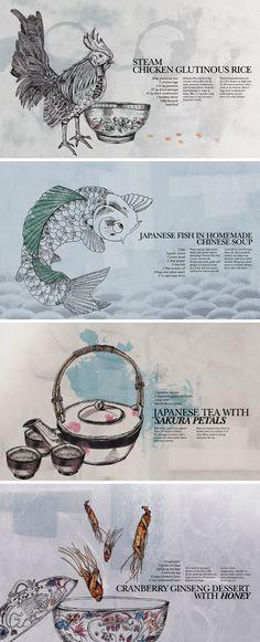 Illustrations for the recipe book 'Divine Pot' by Shaoyin Menu Design, Food Design, Print Design, Graphic Design, Honey Dessert, Drink Recipe Book, Kitchen Drawing, Steamed Chicken, Cookery Books