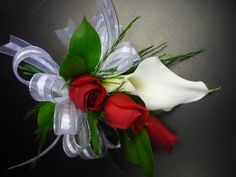 photos of wedding corsages | ... White Calla Lily and Spray Rose Corsage - Corsages - Wedding / Prom