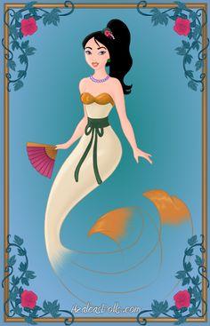 Mermaid Mulan by YueYuu on DeviantArt Disney Princess Pictures, Disney Princess Art, Disney Fan Art, Mermaid Disney, Mermaid Art, Art Nouveau Disney, Alternative Disney Princesses, Princess Movies, Mermaid Pictures