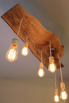 * Reclaimed and extreme live-edge spalted maple wood light fixture with Hanging Edison bulbs.