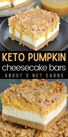 These Keto Pumpkin Cheesecake Bars are a low carb delight! At just 3.3 net carbs per serving this is the perfect Fall dessert recipe! #keto #glutenfree #lowcarb #cheesecake