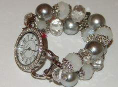 White Crystal and Silver Beaded Watch White and by BeadsnTime, $30.00