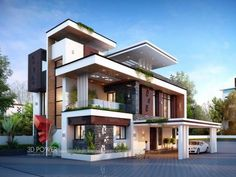 House design photos architectural rendering bungalow best bungalow design home designs house design top class new designs house front design photos india House Design 3d, Bungalow House Design, House Front Design, House Design Photos, Villa Design, Cool House Designs, 3d Architectural Rendering, House Elevation, Front Elevation