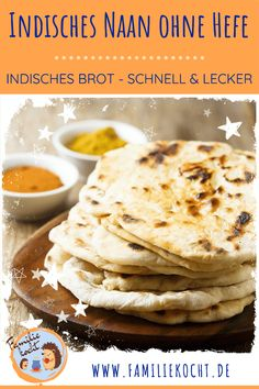Indian Naan bread vegan without yeast - quickly with spelled flour - How to make . - Indian Naan bread vegan without yeast – quickly with spelled flour – How to make fast Indian Na - Quick Vegan Breakfast, Vegan Breakfast Recipes, Naan Bread Vegan, Pan Indio, Bread Without Yeast, Dessert Bread, Baby Food Recipes, Easy Meals, Yummy Food