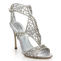 SERGIO ROSSI Tresor Swarovski Crystal Sandals. #sergiorossi #shoes #