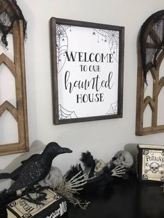 Welcome to our Haunted House Halloween sign. Welcome sign. Farmhouse decor Welcome to our Haunted House Halloween sign. Welcome sign. Farmhouse Halloween, Halloween Home Decor, Diy Halloween Decorations, Halloween 2020, Holidays Halloween, Spooky Halloween, Halloween Crafts, Diy Halloween Signs, Halloween Canvas