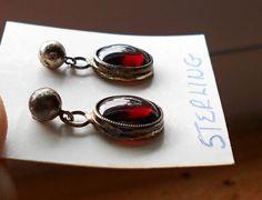 Vintage GARNET & Silver Drop Earrings c. 1960's by DebVonVentures, $28.99