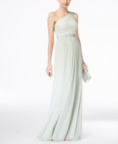 Adrianna Papell Embellished Lace One-Shoulder Gown   macys.com