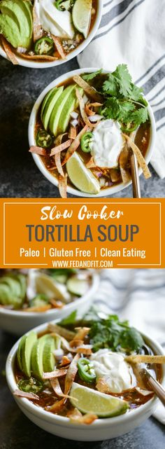 This Mexican chicken tortilla soup is made in the crockpot and only requires a few ingredients for an easy, healthy, and nourishing family meal!