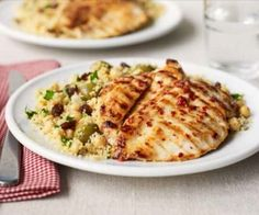 Lemon chicken with fruity olive couscous - A low-fat dish of grilled citrus chicken with fresh salad that can be whipped up for a quick supper Bbc Good Food Recipes, Meat Recipes, Chicken Recipes, Cooking Recipes, Healthy Recipes, Recipies, Yummy Recipes, Cooking Tips, Healthy Food
